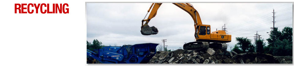 Recycling - Excavator on top of materials